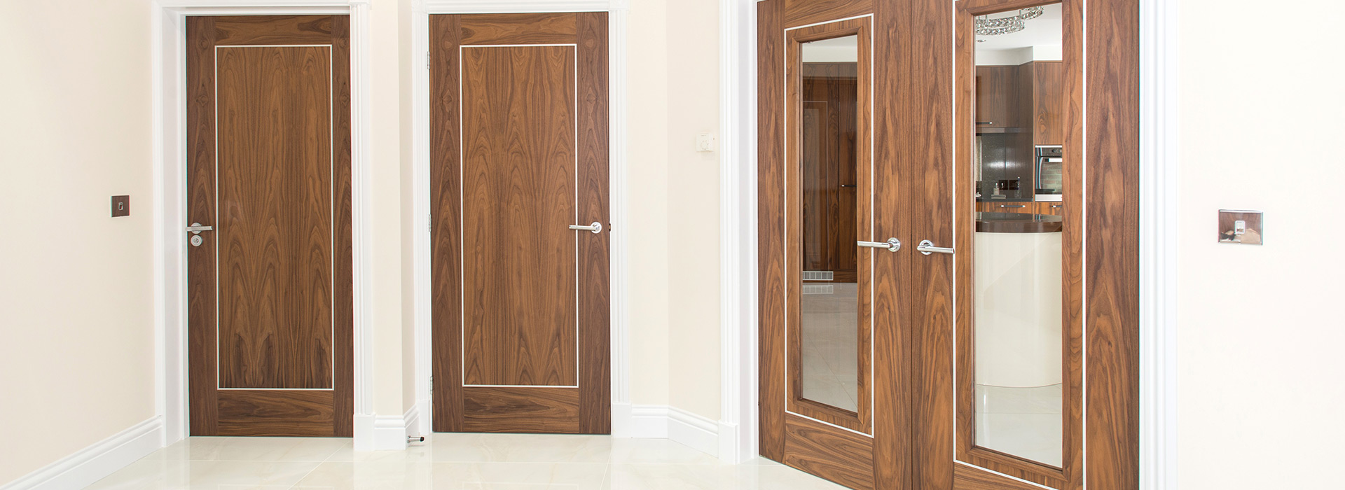 Prefinished walnut doors white frames