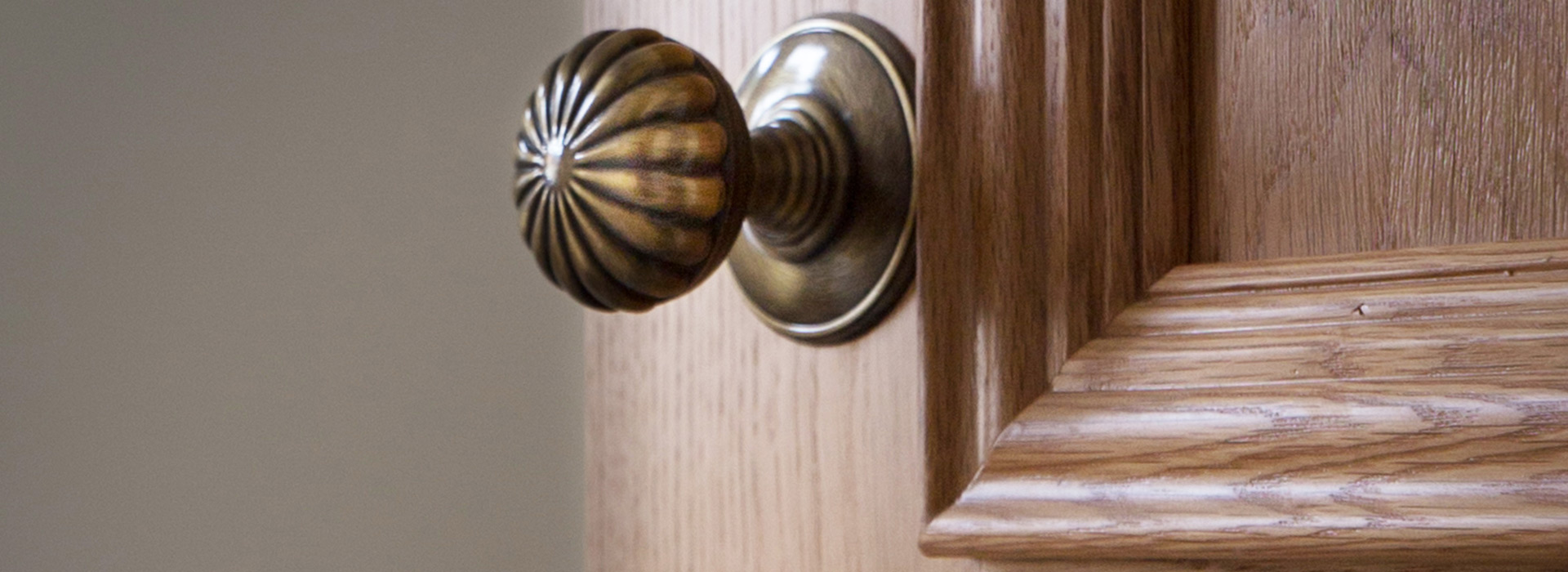 Florentine bronze door knob on traditional door
