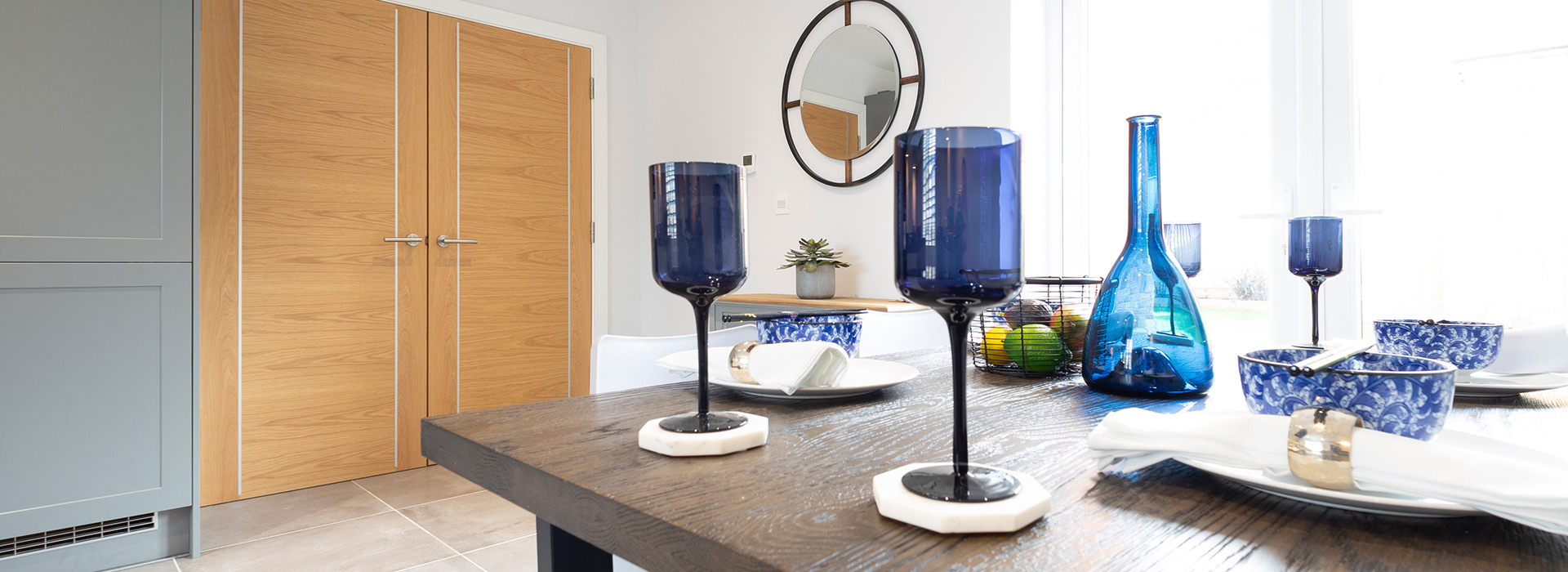 Blue glass dinnerware modern interior