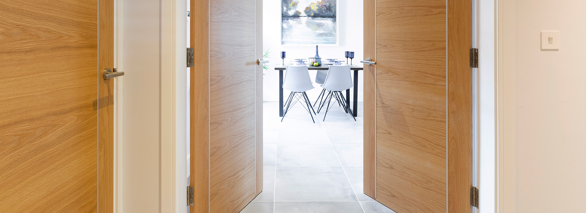 Oak double doors with metal strips