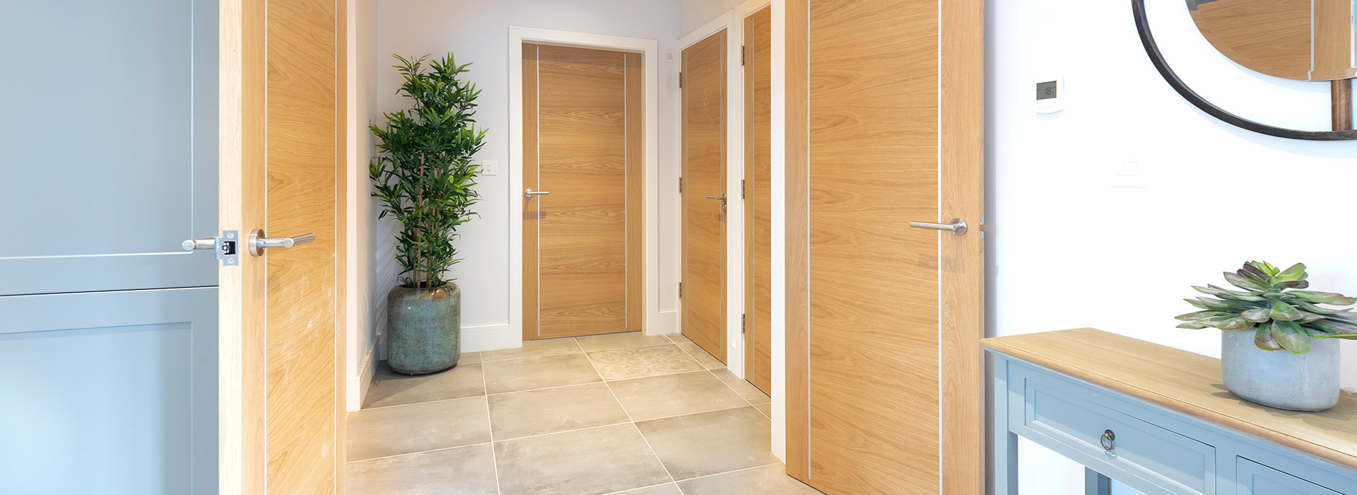 American white oak doors on hallway