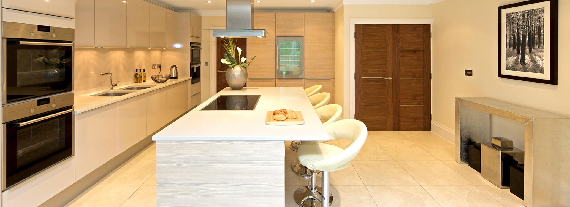 Open plan modern kitchen