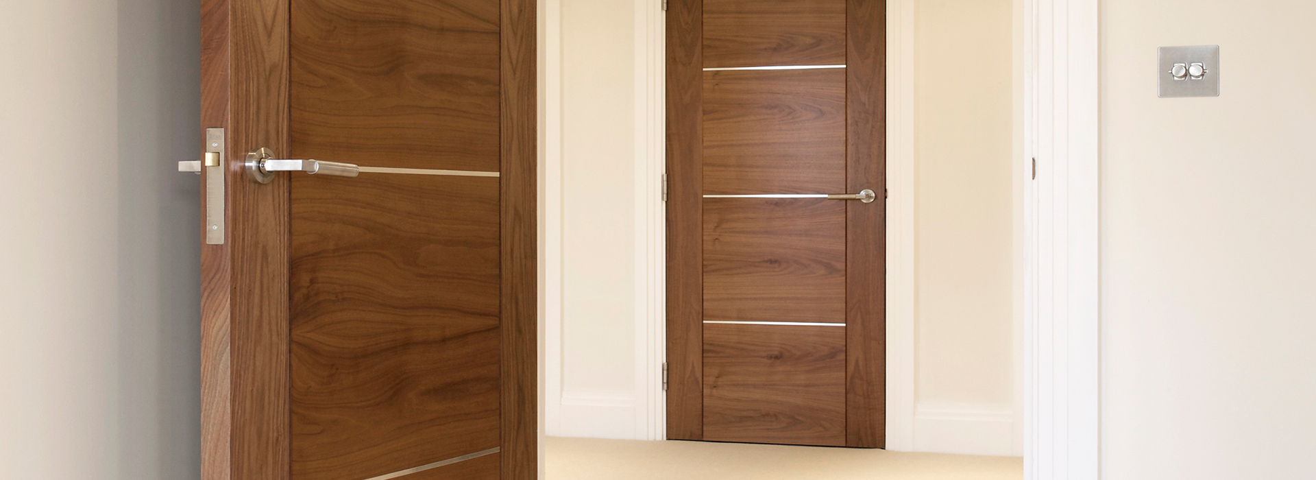 Walnut interior doors with chrome handles