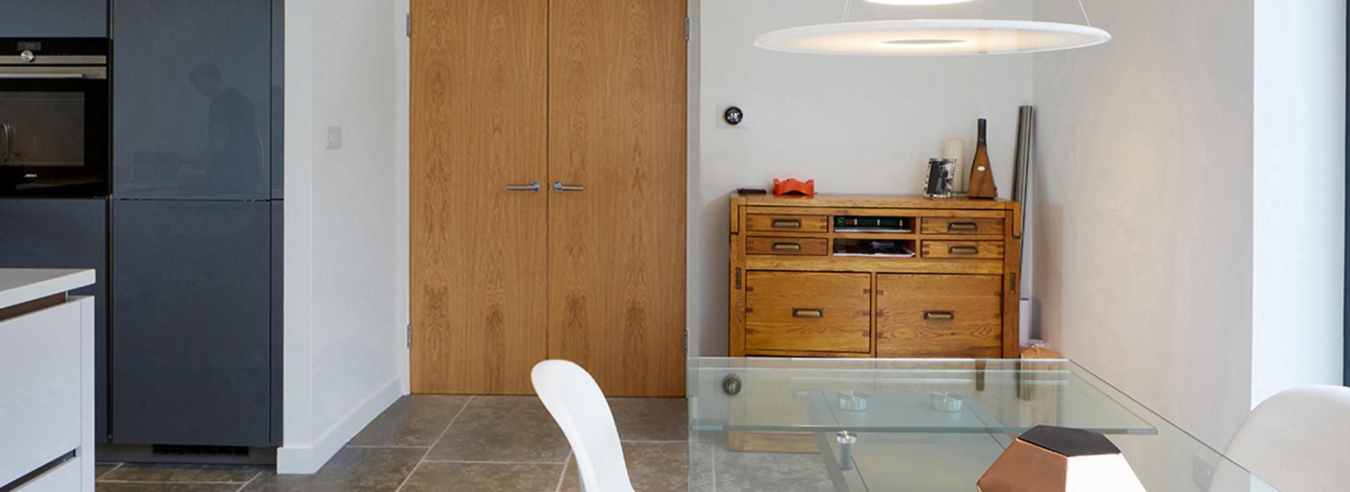 Oak doors in white frames