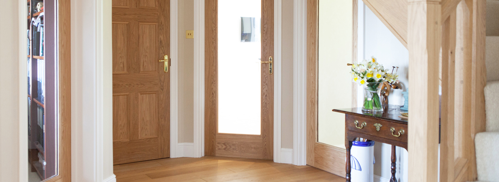 Oak doors in entrance hall