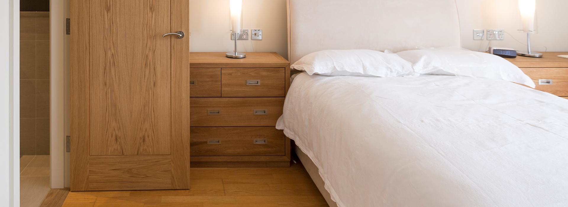 Oak door in master bedroom
