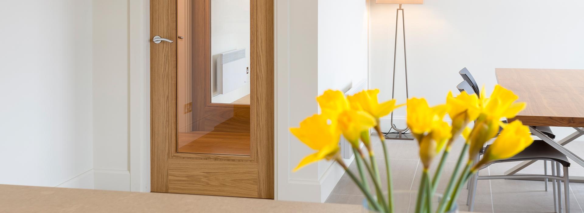 Glazed oak interior door