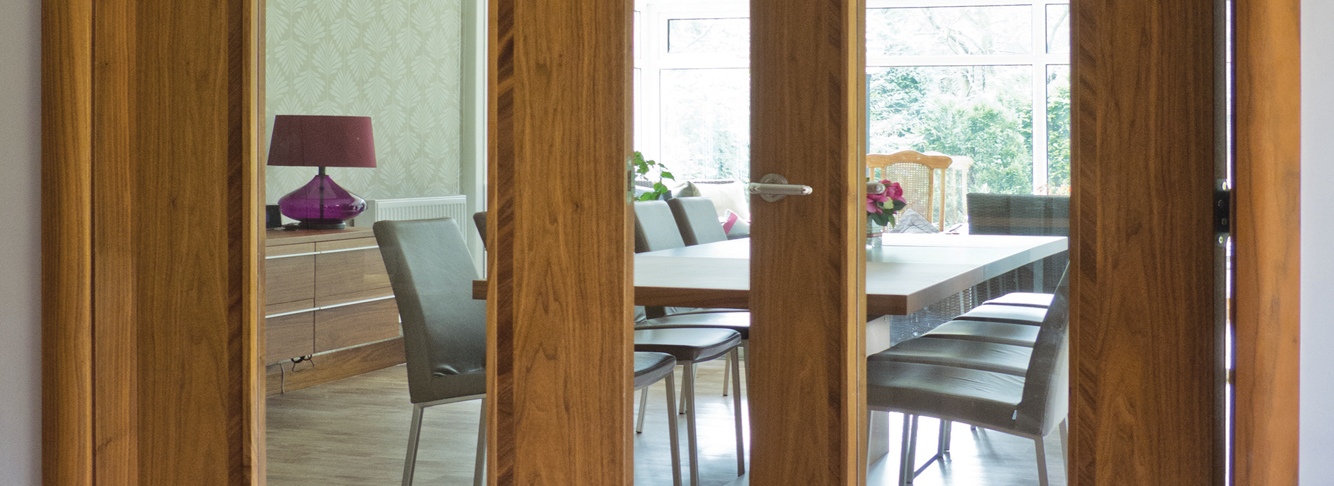 Interior glazed walnut doors