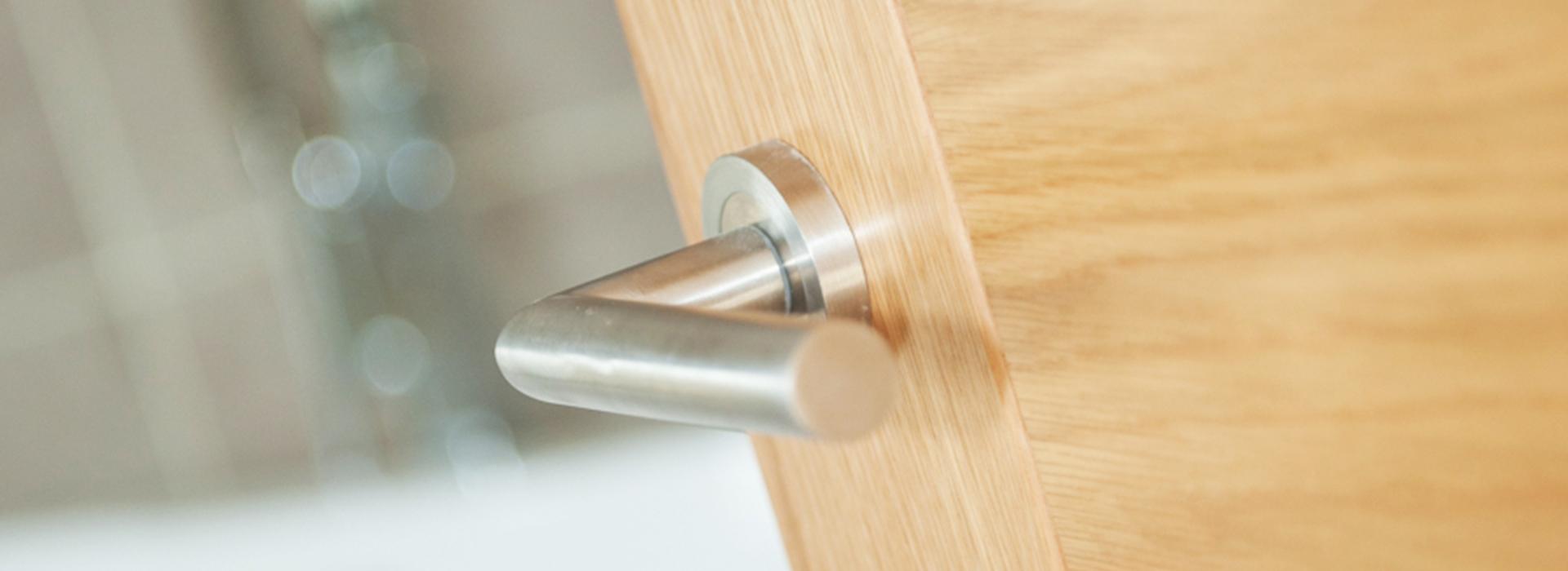 Modern chrome door handle
