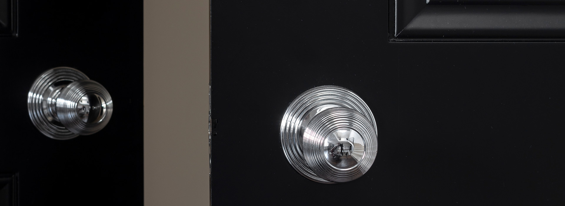Polished chrome finish beehive door knobs