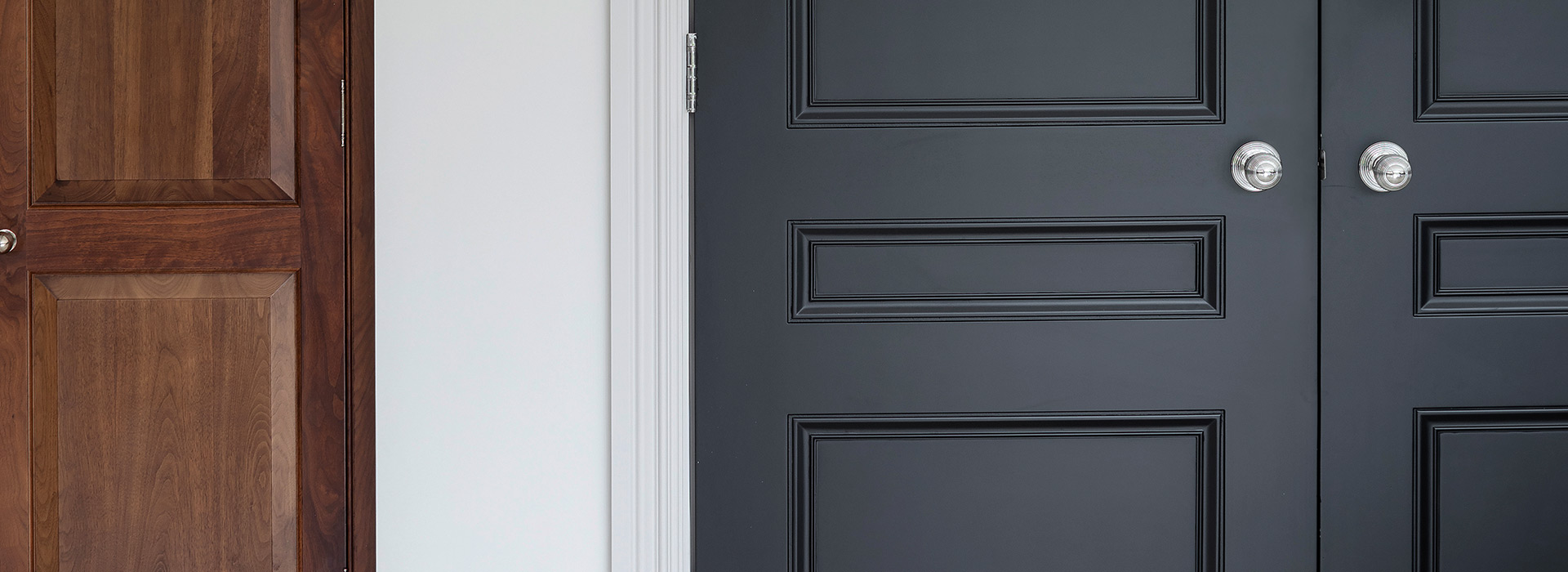 Traditional 3-panel jet black doors