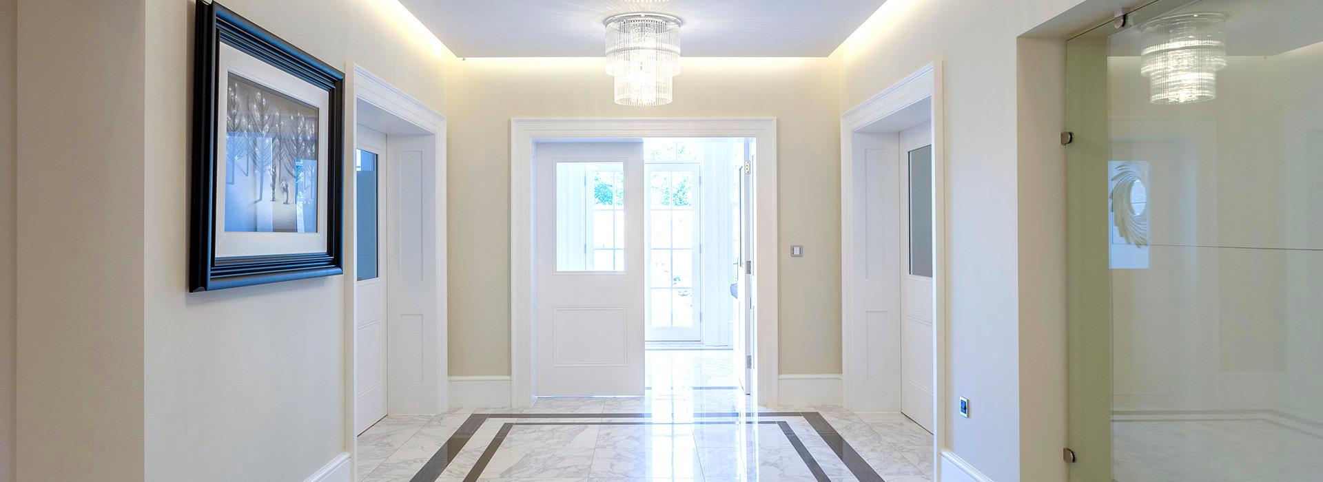 Marble hallway white doors