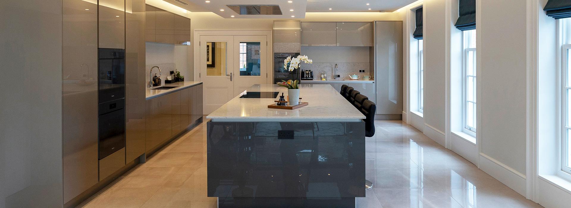 Modern kitchen glazed doors