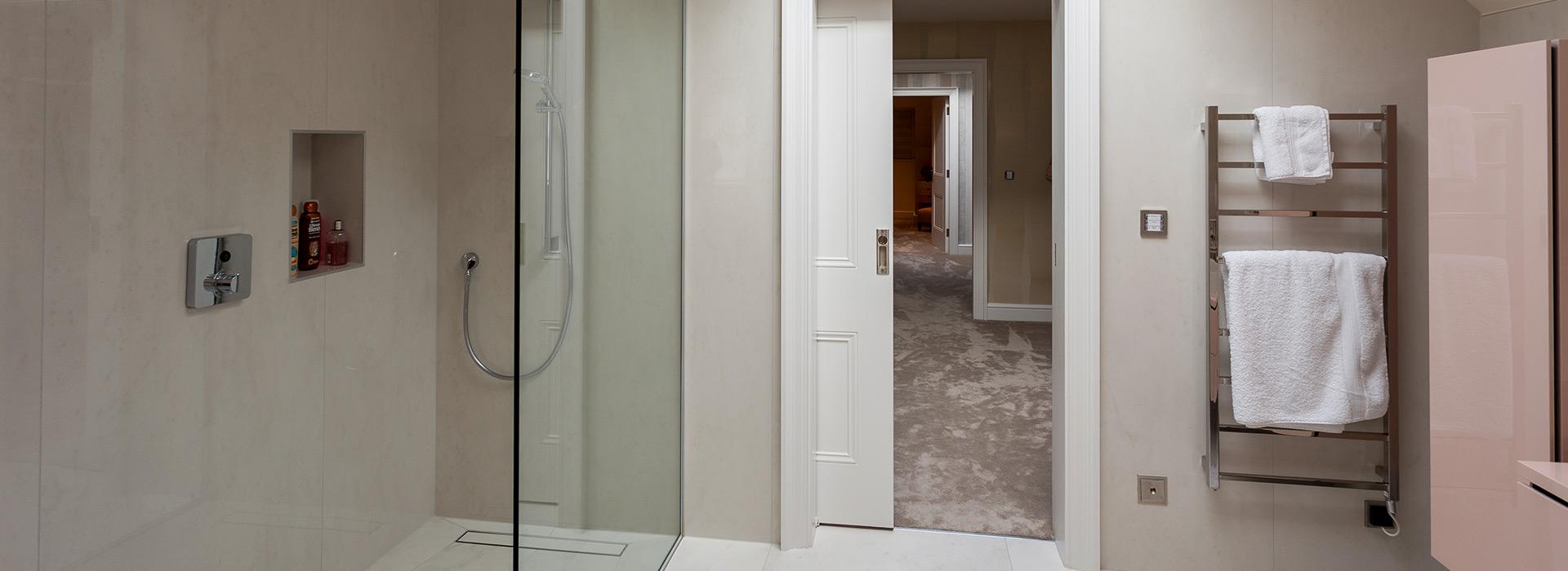 Sliding pocket door to shower