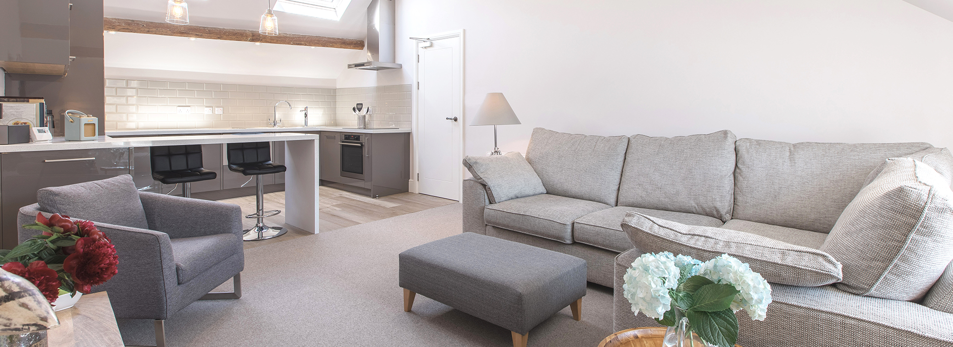Grey apartment with white door