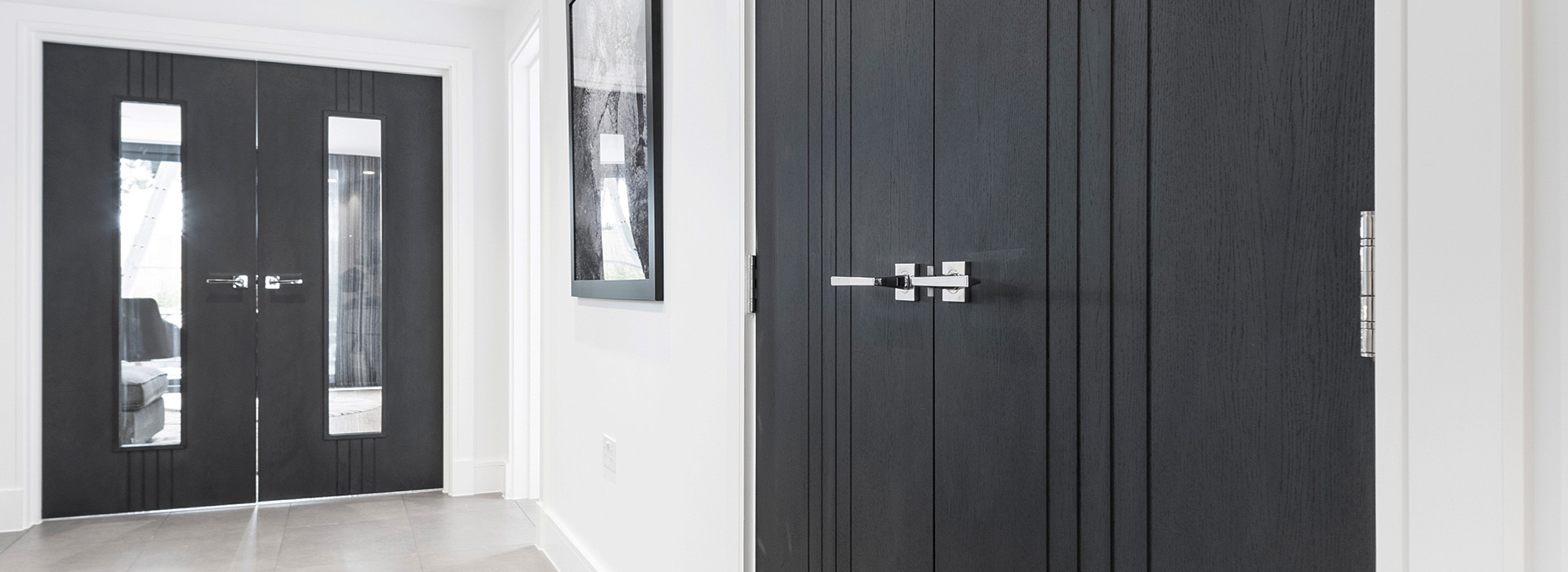Slate black grooved double doors