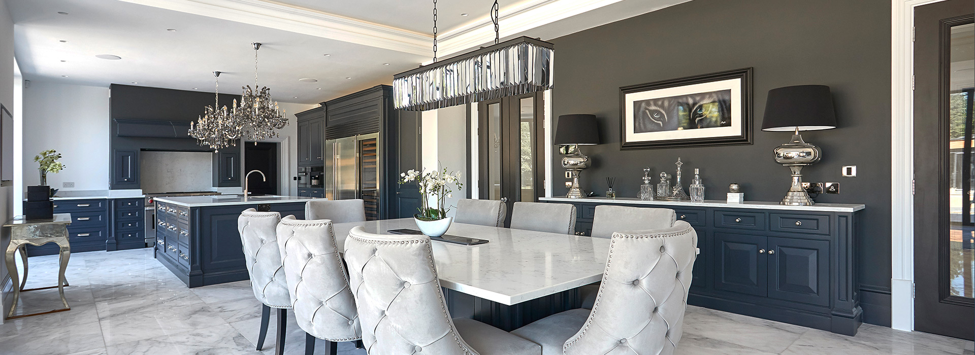 Luxury dining room with suede chairs