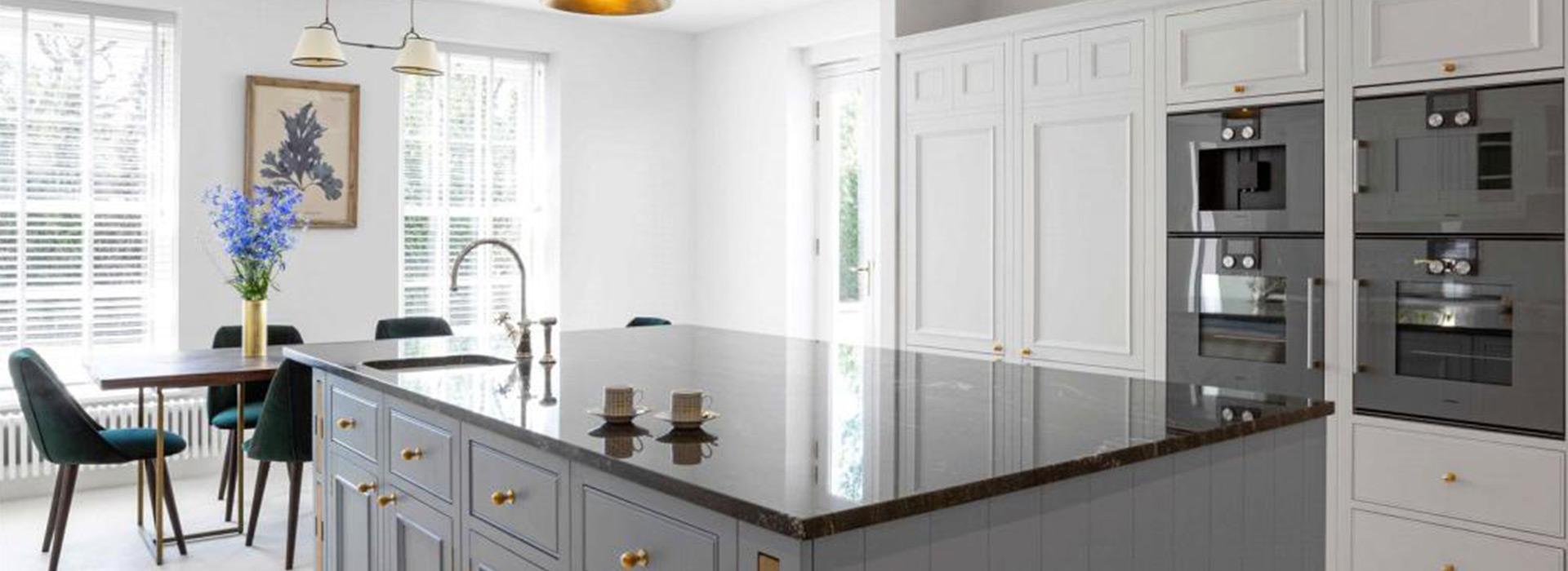 Grey and white shaker kitchen